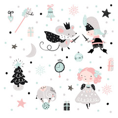 Fairy childish pattern with nutcracker, girl and mouse king. Christmas scandinavian set for kids fabric, wrapping, textile, wallpaper, apparel.