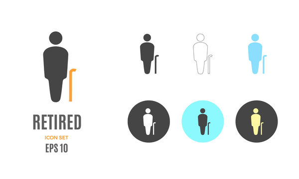 Vector retired old person infographic template. Color icon for your illustration or presentation