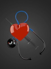 Heart with stethoscope and syringe