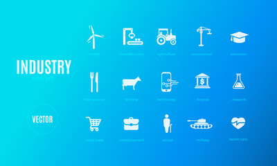Vector industry infographic template. Color icon set for your illustration or presentation
