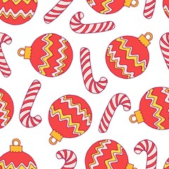Decorative seamless pattern with christmas red balls and candies