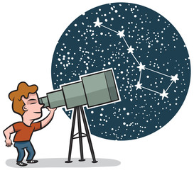 A little boy looks through a telescope at the stars