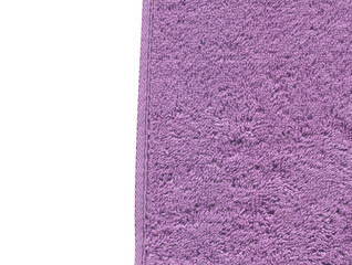 Lilac color bath cotton towel  texture  isolated on white