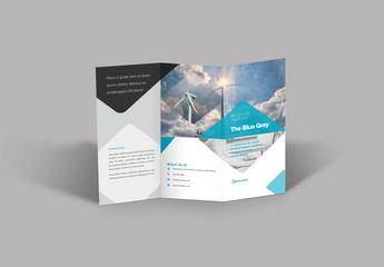 Trifold Brochure Layout with Blue and Grey Accents