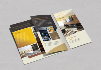 Trifold Brochure Layout with Gold Elements