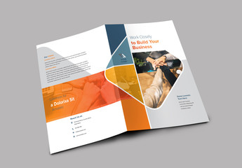 Bifold Brochure with Blue and Orange Accents