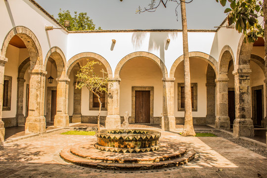 view of a courtyard of the cultural Institute Cabanas a place of culture in Guadalajara Jalisco Mexico in a wonderful and sunny day