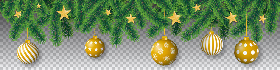 Seamless vector winter coniferous tree branches with needle leaves, golden stars and hanging golden christmas bulbs on transparent background.