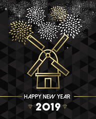 New Year 2019 netherlands windmill travel gold