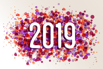 Happy New year 2019 circle color splash background