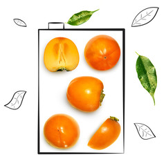 Fruit composition with fresh persimmon and cartoon cute doodle drawing elements on white background. Creative minimalistic food concept.