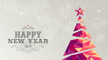 Happy new year 2019 card christmas tree triangle
