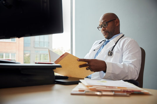 Doctor looking at files