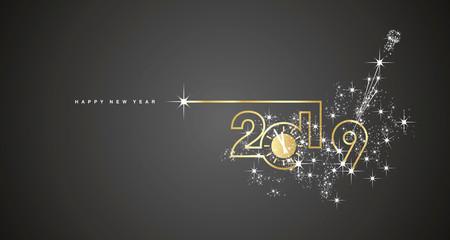 New Year 2019 line design gold clock sparkle firework champagne white black vector