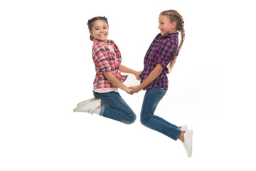 Best friend dressing. Girls friends wear similar outfits have same hairstyle kanekalon braids white background. Sisters family look outfit. Dress similar with best friend. Dress to match your friend