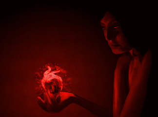 Young girl with a burning heart in the palm, toned into red color portrait art drawing as a symbol of heartache