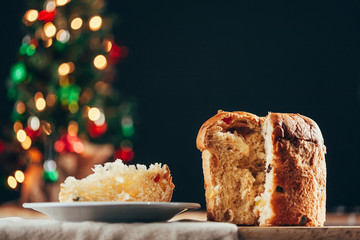 Christmas cake panettone and Christmas decorations.