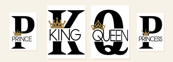 King,Queen, Prince and Princess. Mom, dad, little sister, brother, daughter, son - set of family crown design. Black text isolated on white. Printable: t-shirt, pillow, mug, cup, sweatshirt, pajamas