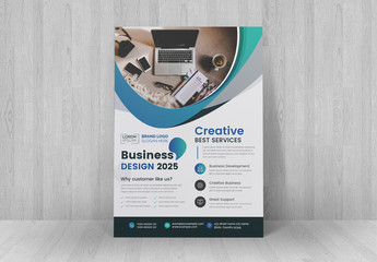 Flyer Layout with Blue Gradient Accents
