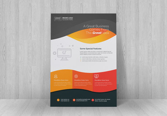 Flyer Layout with Orange and Red Accents
