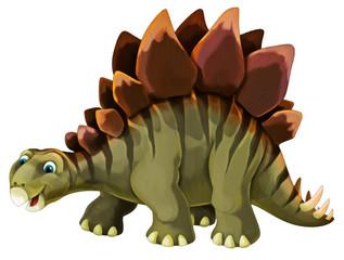 cartoon scene with happy and funny dinosaur stegosaurus - on white background - illustration for children