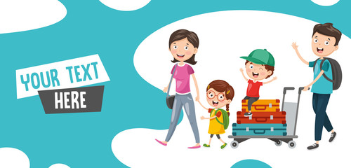 Vector Illustration Of Family Travelling