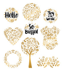 Baby Annoucment Photo Overlays. Pregnancy Announcements in Vector