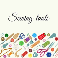 Sewing tools for atelier and home hobby. Vector illustration