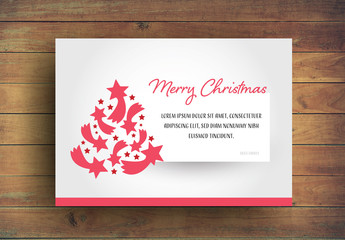 Christmas Card Layout with Red Star Elements