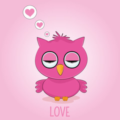 Fantasy is sleeping red bird owl isolated on pink background.