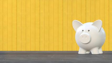 Weißes Sparschwein vor gelber Holzwand