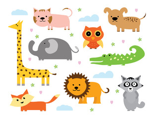 Animal Vector Set. Set of Cartoon Animals. Baby Animals Collection
