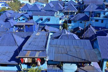 Kampung Biru Arema, the vlue village of Jodipan Village in Malang City, Java Island, Indonesia