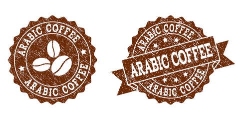 Arabic Coffee rubber stamps. Vector seals in chocolate color with round, ribbon, rosette, coffee bean elements. Grainy design and dirty texture are used for Arabic Coffee rubber imprints.