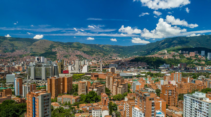 Medellin City Horizon Aerial Photo