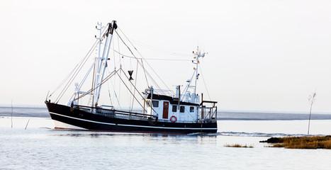 Krabbenkutter auf dem Weg zu den Fanggründen der Granat, Krabbenfischerei an der Nordseeküste