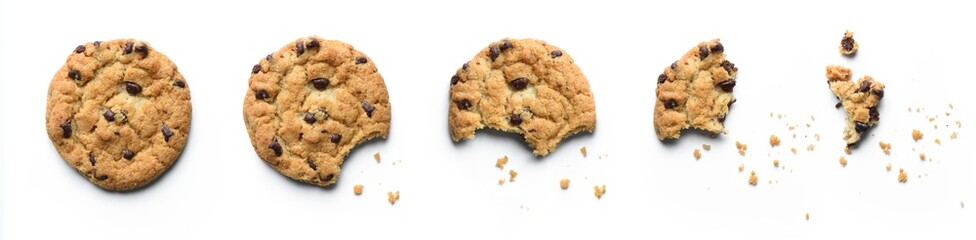 Photo sur Plexiglas Biscuit Steps of chocolate chip cookie being devoured. Isolated on white background.