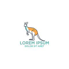 kangaroo logo template with outline style, vector illustration and inspiration logo. Save kangaroo, kangaroo care charity