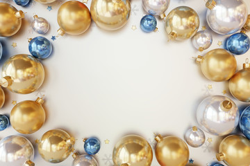Christmas decorations colorful balls on white  background. 3d rendering