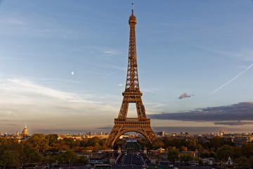 Paris, France - October 30, 2017: Eiffel tower at sunset viewed from Trocadero district