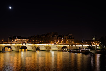 Paris, France - October 21, 2018: Pont neuf bridge by night in Paris
