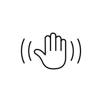 hello emoji symbol line black icon on white background