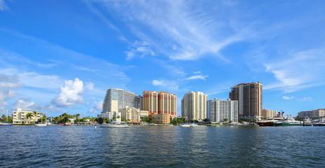 Blue skies over Fort Lauderdale skyline, steps away from Fort Lauderdale Beach.