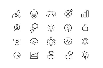 startup network data and technology line icons. vector linear icon set.