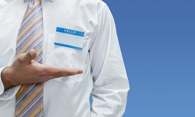 Blank badge on doctor in a white