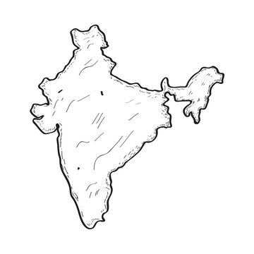 Sketch of a map of India. Vector illustration design