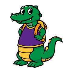Cartoon Alligator Schoolboy
