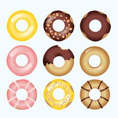 9 Styles Donuts, Mango Almond Donut, Chocolate  Donut, Strawberry Donut.