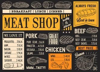 Butchery products menu, meat sketch chalkboard