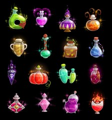 Halloween witch potion, elixir and poison bottles